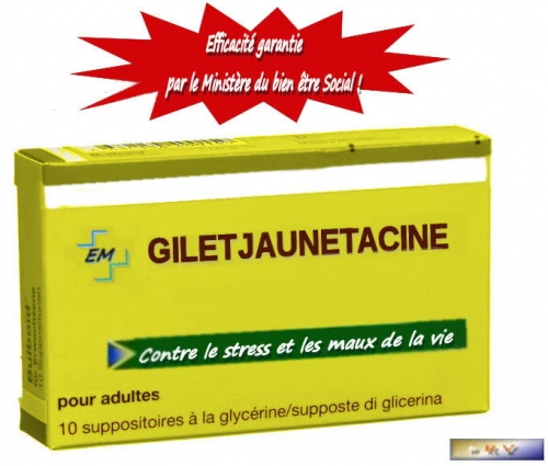 monde,pharmacie,société,france,laboratoires,fake,lrem,politique,foto,image,gilets jaunes,médicament,suppositoire,macron,blague,humour,gag,photo,em,médecine,rire,jaune,adulte,grand débat national