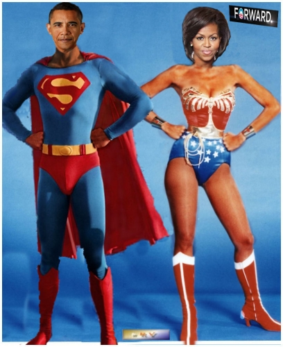 monde,usa,politique,obama,superhéros,wonderwoman,michelle,humour,gag,fake,photo,image,président,blague,forward,en avant,élections,winner